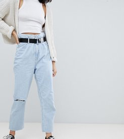 paper bag waist jean in blue-Purple