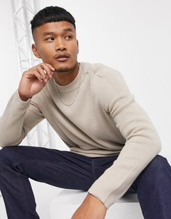 ribbed crew neck sweater in beige