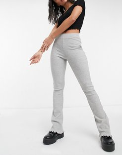 ribbed flare pant with lettuce hem in gray-Grey