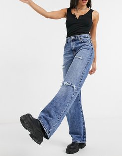 ripped 90's jean in medium blue wash-Blues