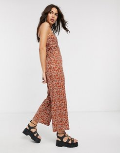 ruched front animal print jumpsuit in rust-Orange