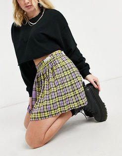 spliced tartan tennis skirt in purple and yellow plaids-Multi