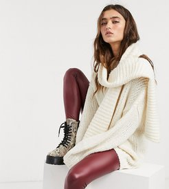 sweater & matching removable scarf in cream-Green