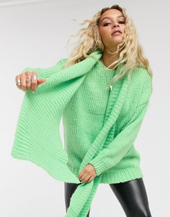 sweater & matching scarf in apple green-Cream