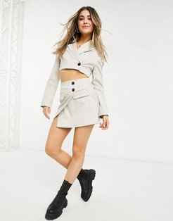 tailored mini skirt in beige plaid - part of a set-Cream