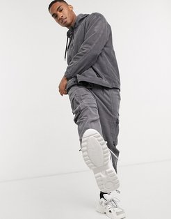 two-piece cord cargo pants in gray