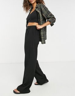 wide leg tailored pants with stepped waistband in black