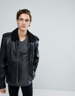 Leather Jacket with Faux Fur Collar