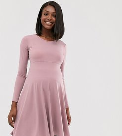 exclusive long sleeved stretch midi skater dress in mauve-Purple