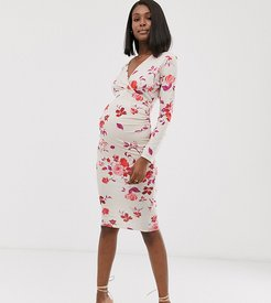 exclusive wrap front stretch midi dress in floral-Pink