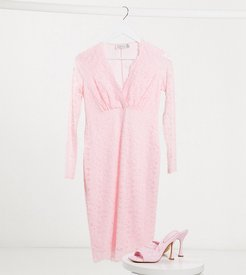 long sleeve lace baby shower midi dress in baby pink