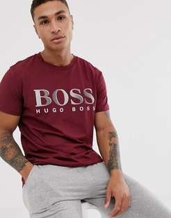 bodywear bold logo t-shirt in burgundy-Red
