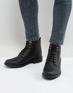 Milled Lace Up Boots In Black