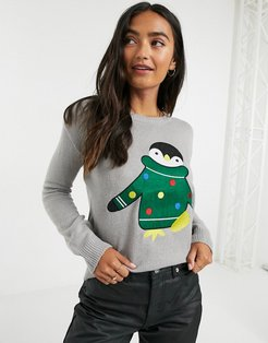 penguin christmas sweater-Gray