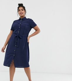 marty tie front shirt dress-Navy