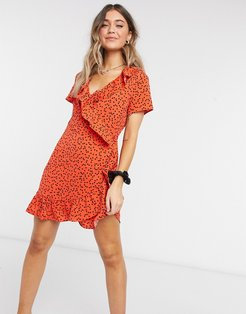 ruffle wrap mini dress in red with heart print