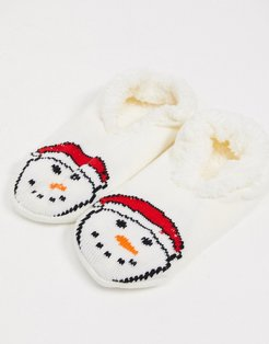 snowman slipper socks-Multi