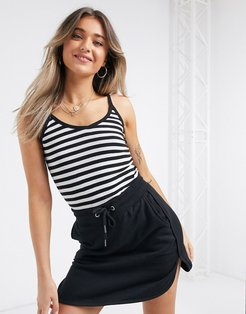 striped tank top in black and cream