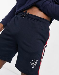 track shorts in navy