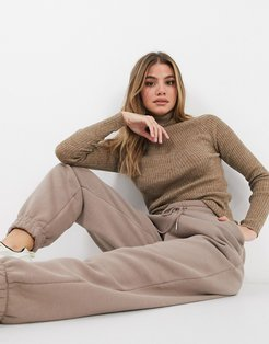 trudy rollneck ribbed sweater in camel-Tan