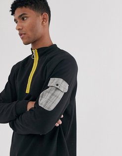 Brooklyn Supply Co funnel neck sweatshirt with check pocket in black