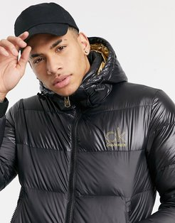 gold capsule small logo hooded puffer jacket in black