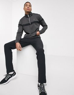 Performance half-zip with chest stripe in gray-Grey