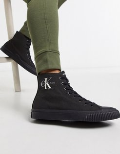 Jeans Icaro canvas high top sneakers-Black