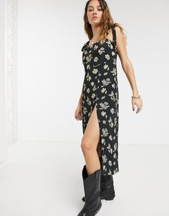 camilla floral and butterfly midi dress-Black