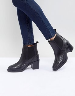 Stop Leather Studded Ankle Boots-Black