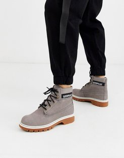 CAT corduroy suede lace up boots in gray