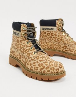 CAT leather hiker boots in leopard-Multi