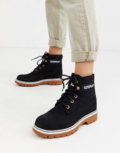 CAT lyric corduroy suede lace up boots in black