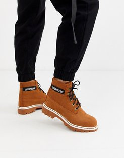 CAT lyric corduroy suede lace up boots in rust-Brown