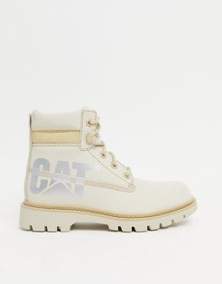 Caterpillar lyric bold leather boots in beige-Neutral