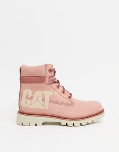 Caterpillar lyric bold leather boots in pink
