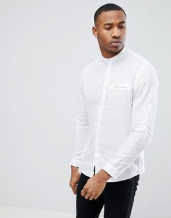Long Sleeve Shirt With Grandad Collar In White