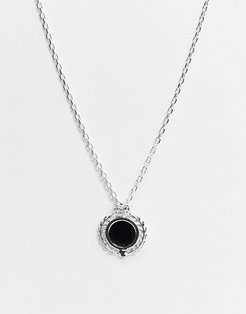 neckchain in silver with crest onyx pendant