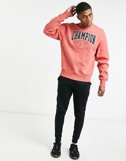 reverse weave quilted C embroidered logo sweatshirt in picante pink