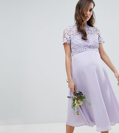 2 in 1 High Neck Midi Dress with Crochet Lace-Gray