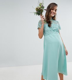 2 in 1 High Neck Midi Dress with Crochet Lace-Green