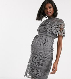 high neck lace pencil midi dress in charcoal-Gray