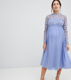 High Neck Midi Skater Dress With Lace Sleeves-Blue