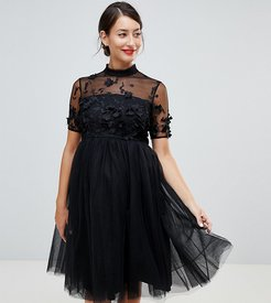 high neck tulle midi dress with floral applique-Black