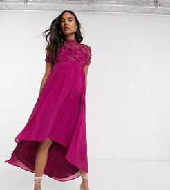 lace detail midi dress with high low hem in fuchsia-Pink