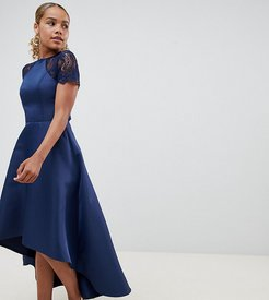 high low hem midi dress with lace sleeves-Navy