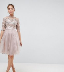 High Neck Tulle Midi Dress With Cut Out Back Detail-Brown