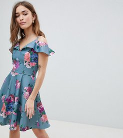 Printed Midi Dress with Cold Shoulder Detail-Multi