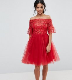 Tulle Midi Prom Dress With Lace Fluted Sleeves-Red
