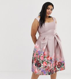 midi dress with square neck in dusty floral print-Multi
